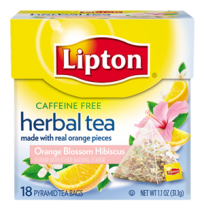 Lipton Herbal Pyramid Tea Bags, Orange Blossom Hibiscus, 18Count (Pack of 6)
